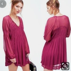 Free People Lini Ethereal Smocked Mini Dress